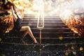 Sexy woman on the elegant staircase Royalty Free Stock Photo