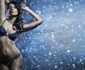A sexy woman in erotic lingerie on the snow young and beautiful posing image is taken snowy winter background Royalty Free Stock Photos