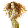 Sexy woman fantasy hairstyle fashion makeup sensual tattoo naked beauty girl with long hairs and floral body art Royalty Free Stock Images
