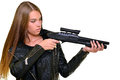 Sexy woman with gun Royalty Free Stock Photo