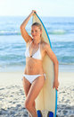 Sexy woman with her surfboard Royalty Free Stock Photo