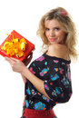 Sexy woman holding christmas present Stock Photography