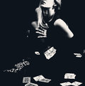 Sexy woman with playing cards in stockings. Royalty Free Stock Photo