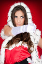Sexy  woman pointing in santa costume Stock Photos
