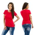 Sexy woman posing with blank red shirt young beautiful female front and back ready for your design or artwork Stock Image