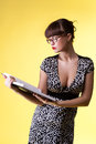 Sexy woman read smart book - pinup style Royalty Free Stock Photo