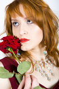 Sexy woman with red rose on valentines day Stock Photography