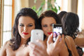 Sexy woman selfie women together indoor Stock Photo