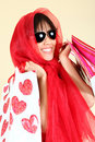 Sexy Woman Shopping With Bags Stock Photography