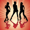Sexy woman silhouettes Royalty Free Stock Images