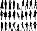 Sexy woman silhouettes - vector Royalty Free Stock Photos
