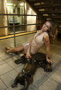 Sexy woman sitting at th street nyc subway station Stock Photos