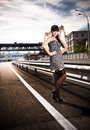 Sexy woman in stockings standing on highway beautiful Royalty Free Stock Images