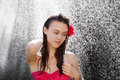 Sexy woman washing hair under shower outdoors Royalty Free Stock Images