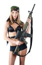 Sexy woman with weapon Royalty Free Stock Images