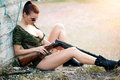 Sexy woman with weapon military model Royalty Free Stock Image