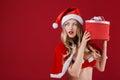 Sexy Woman Wearing Santa Claus...