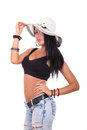 Sexy woman wearing summer hat showing great body in jeans Stock Photos