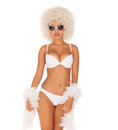 Sexy woman wearing white bikini and afro on Stock Photography