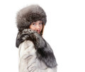 Sexy woman wearing winter fur Royalty Free Stock Photography