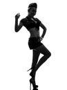 Sexy womanin army uniform saluting silhouette Royalty Free Stock Photo