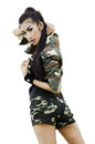 Sexy women in army clothes woman isolated on white Royalty Free Stock Photo