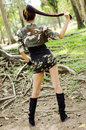 Sexy women in army clothes woman the park Stock Photography