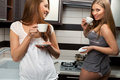 Sexy women with cup of coffee Stock Photography