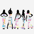 Sexy women dressed in typography dresses with sales messages Royalty Free Stock Photo