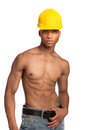 Sexy Young African American Male Model Shirtless Portrait Royalty Free Stock Photo