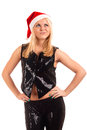Sexy young blonde woman in Santa hat Royalty Free Stock Image