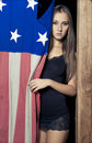 Sexy young girl with american flag Royalty Free Stock Photos