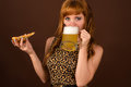 young girl with pizza and beer Royalty Free Stock Photo