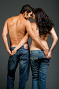 Sexy young multiracial couple in love Royalty Free Stock Photography
