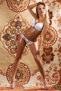 Sexy young woman on asian carpet background Stock Photos