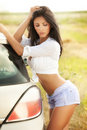 Sexy young woman and car Royalty Free Stock Photography