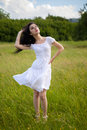 Sexy  young woman on grass field Royalty Free Stock Photo