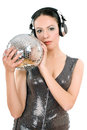 Sexy young woman headphones mirror ball isolated white Royalty Free Stock Photos