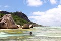 Seychelles dream beach with doc emotional recordings from the tropical paradise of in the indian ocean off africa Stock Image