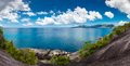 Seychelles mahe island seascape view with a huge stones Royalty Free Stock Image
