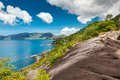 Seychelles mahe island seascape view with a huge stones Royalty Free Stock Photography