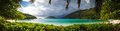 Seychelles mahe island seascape view with white sand Stock Photo