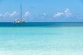 Seychelles yacht a cruises off the coast of praslin island Royalty Free Stock Photo