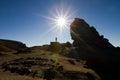 Sfinx monument a rock shaped named in bucegi mountain in busteni romania Stock Photos