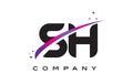 SH S H Black Letter Logo Design with Purple Magenta Swoosh