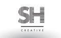 SH S H Black and White Lines Letter Logo Design.