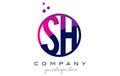 SH S H Circle Letter Logo Design with Purple Dots Bubbles