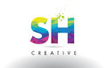 SH S H Colorful Letter Origami Triangles Design Vector.