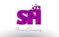 SH S H Dots Letter Logo with Purple Bubbles Texture.
