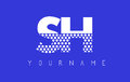 SH S H Dotted Letter Logo Design with Blue Background.